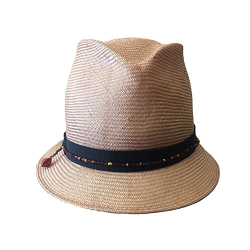 V Hats Women's Pink Straw Fedora With Black Ribbon and Beaded Trim (Beaded Straw Hat Pink)