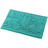 Mayshine Non-Slip Bathroom Rug Shag Shower Mat Machine-Washable Bath Mats with Water Absorbent Soft Microfibers, 20 W x 32 L, Turquoise