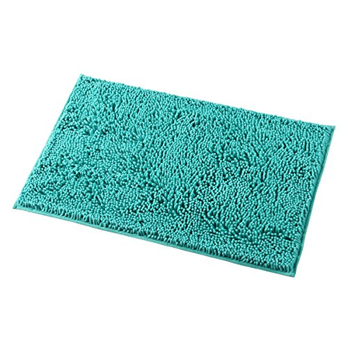 Mayshine Non-Slip Bathroom Rug Shag Shower Mat Machine-Washable Bath Mats with Water Absorbent Soft Microfibers, 20'' W x 32'' L, Turquoise by MAYSHINE