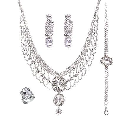 HEDIYE Silver-Tone Cubic Zirconia Bridal Rhinestone Necklace Bracelet Earrings Ring Set Crystal Jewelry Set for Women