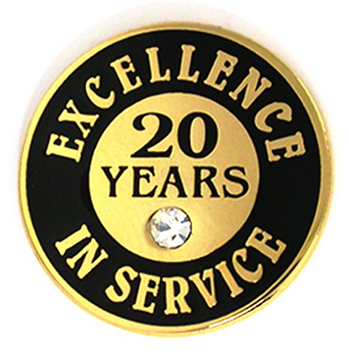 PinMart Gold Excellence in Service Enamel Lapel Pin w/Rhinestone - 20 Years