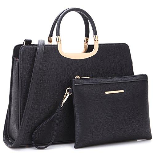 Dasein Women Pebbled Leather Handbags Briefcase Satchel Shoulder Bag Top Handle Bag