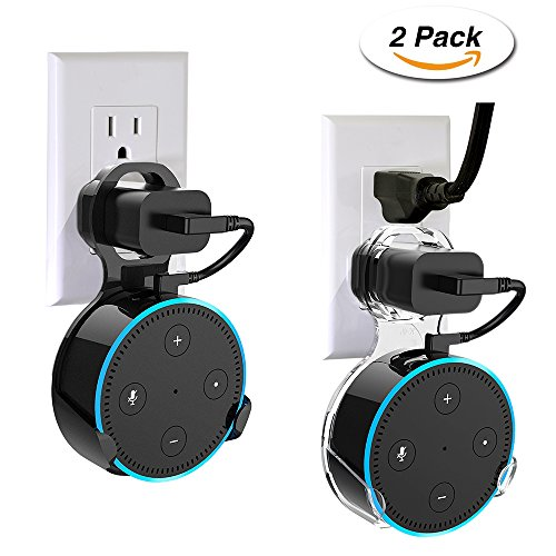 Lakatya Echo Dot 2Nd Generation Accessories Outlet Wall Mount Stand Hanger Holder For Home Voice Assistants With Short Cords  A Space Saving Solution Without Screws  Transparent And Black  2 Pack