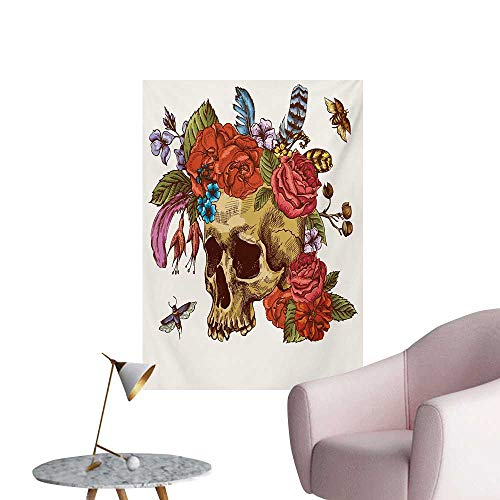 Anzhutwelve Day of The Dead Wallpaper Vintage Sugar Skull Bouquet of Flowers Feathers Blooms Bugs and Bees PrintMulticolor W24 xL32 Custom Poster]()