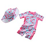 #10: Collager Baby Girls Kids Cute Short Sleeve Swimsuit Rash Guard Bathing Suit UPF 50+ UV
