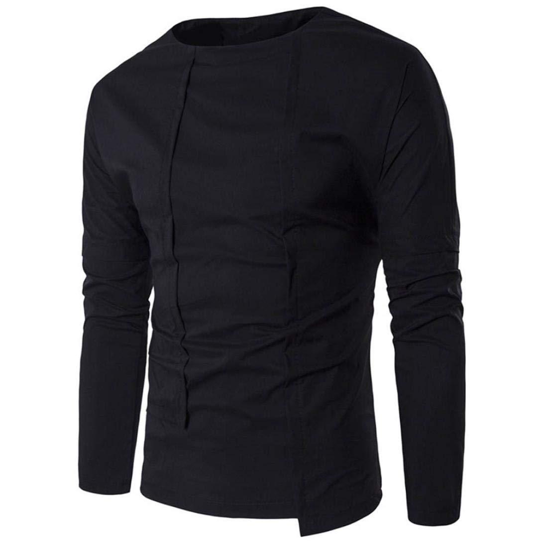 NRUTUP Solid Shirt Men's Slim Long Sleeve Shirt Sweatshirt For Boys Casual Fashion Blouse 2018 New Autumn Winter Top (Black, M)