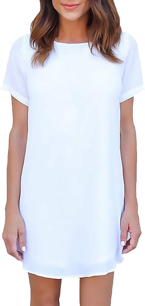 Vestidos Mujer Verano Vestido Gasa Manga Corta Cuello Redondo Color Sólido Elegantes Vestidos De Camisa Vestidos Camiseros Vestido De Camisa Basicas Basic Casual Anchos Aireado Vestido Playa Ropa: Amazon.es: Ropa y accesorios