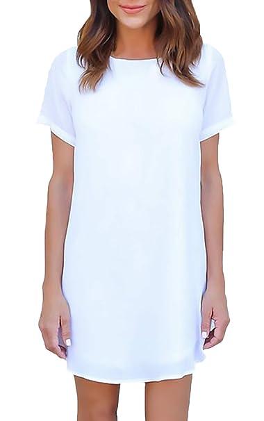 dc65a4d42 Lounayy Vestido Gasa Vestidos Verano Vestido Cóctel Manga Corta para Damas  Elegante Blusa Vestido Camiseta Vestido Suelto Airy Mini Vestido Playa  Vestido ...