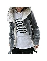 Womens Fleece Long Sleeve Winter Coat Hooded Jacket Sweater Parka Outwear