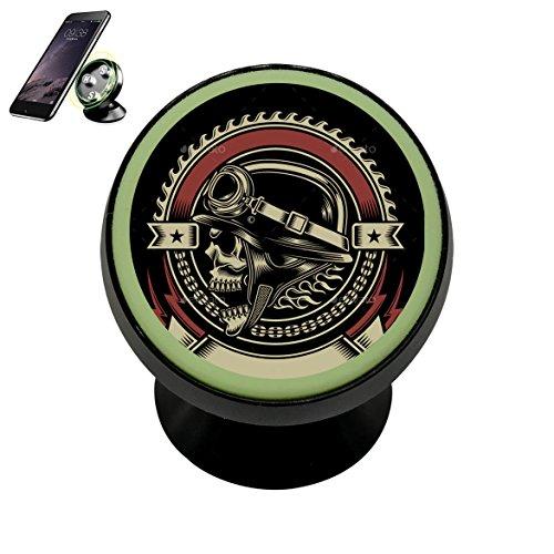 PG-Gai Magnetic Phone Car Mount Holder Vintage Biker Skull Emblem 360¡ã Universal Rotation Magnetic Luminous Mobile Phone Holder