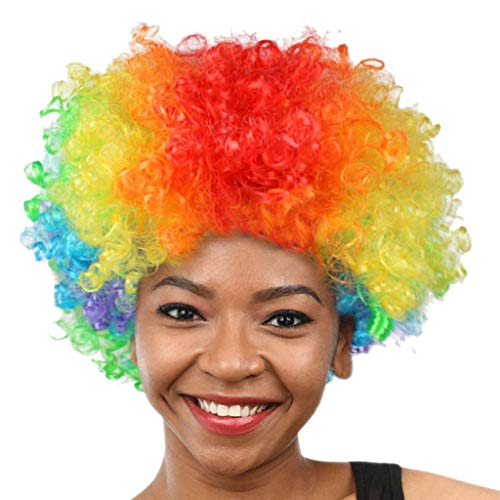 Wigs Short Body Wave Synthetic Women Shaped Natural Hairline Jet Color Party Disco Funny Afro Clown Football Fan-Adult Afro Masquerade NONE Lace (A)