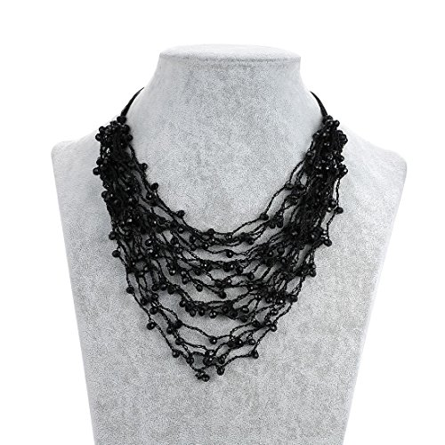 Strands Necklace With Knited Glass Beads Chain For Women's Handmade Jewelry Length:16+2.5 inch Black