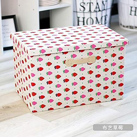 Armario Tiene Cubierta Caja De Almacenamiento Caja De Embalaje Cesta De Ropa Grande: Largo 48 X Ancho 32 X Alto 30 (con Cubierta) Fresa