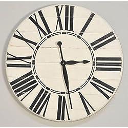 BrandtWorks LLC Riley Oversized Farmhouse 36 Wall Clock, 36 X 36, Antique White