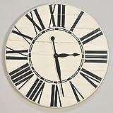 "BrandtWorks Riley Oversized Farmhouse 36"" Wall Clock, 36 x 36, Antique White/Black"