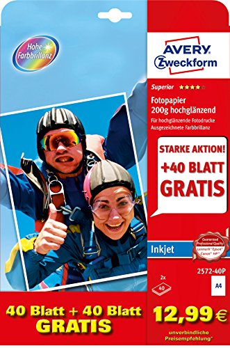 Avery Zweckform 257240P Superior Inkjet Photo Paper A4200g/m² Coated ON ONE Side ()