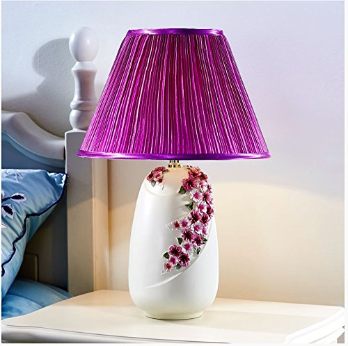 CLG-FLY Warm and romantic bedroom lamp decoration lamp bedside lamp,36.5×53.5cm button switch