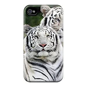 Tpu Case Cover Compatible For Iphone 4/4s/ Hot Case/ Two White Tigers