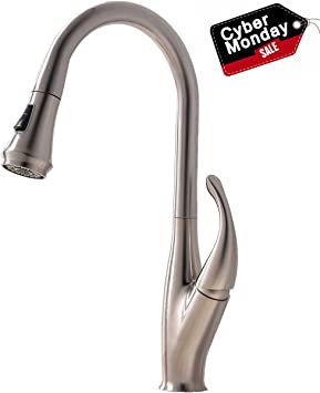Commercial Stainless Steel Single Handle Pull Down Sprayer Kitchen Sink Faucet Brushed Nickel Kitchen Faucet With Deck Plate Amazon Com