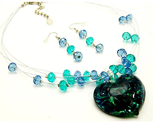 Murano Crystal Pendant (Fashion Jewelry ~ Green Glass Heart Charm Pendant w Beads Necklace and Earrings Set)