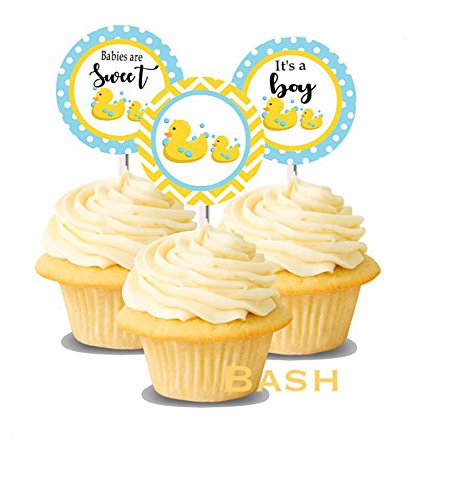 Amazon Com Rubber Ducky Baby Shower Cupcake Toppers Yellow Pink