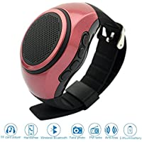 ♬ SVPRO Portable Wireless Bluetooth Speaker Watch,Multi-functional Bracelet Speaker Wristwatch with MP3 Music Player,Hands-free call,Radio,Self-timer,Supporting USB,TF Card Taking Photoes (B20, red)