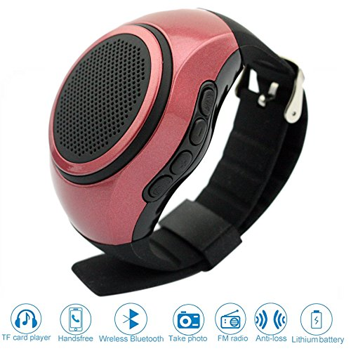 ♬ SVPRO Portable Wireless Bluetooth Speaker Watch,Multi-functional Bracelet Speaker Wristwatch with MP3 Music Player,Hands-free call,Radio,Self-timer,Supporting USB,TF Card Taking Photoes (B20, red) by SVPRO
