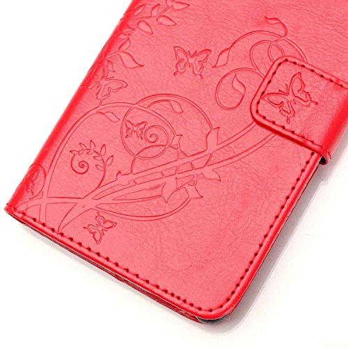 JIALUN-Personality teléfono shell Samsung S6 caja de flores en relieve, cierre magnético PU sintética cubierta de la caja con cuerda colgante y función de la cartera para Samsung S6 Seguridad y Moda ( Red