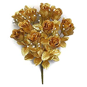 Admired By Nature GPB265G-Gold 14 Stems Faux Blossoms Rose Bush 93