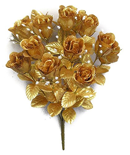 Admired By Nature GPB265G-GOLD 14 Stems Faux Blossoms Rose Bush Gold