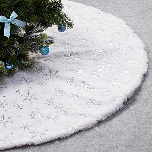 EDLDECCO 48 Inches Christmas Tree Skirt White Luxury Cozy Faux Fur Silver Snowflake Sequin Embroidered Double Layers Handicraft Xmas Decoration Holiday Ornaments