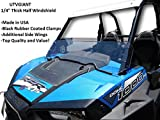 Polaris RZR XP 1000 Half Windshield - 1/4'' Thick, Black Clamps, Side Wings, Fits 2 Door and 4 Door