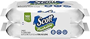 Scott Flushable Cleansing Cloths Refills 51 Clothes (2 Pack),102 Total