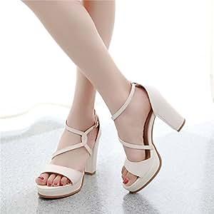 2065a7c745e Amazon.com : GTVERNH-8-10Cm High Heels Women Spring Rough Heel Cross ...