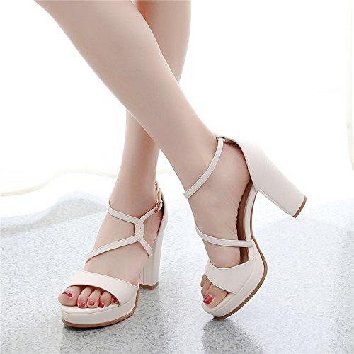 tacchi beige alti fibbia pesante GTVERNH una 39 donne primavera le tallone sexy la dita parola croce impermeabile 10cm scarpe pesante tallone piedi 8 dei q8xgE