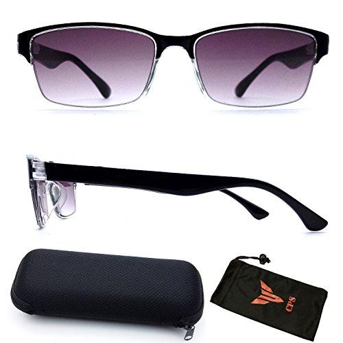 (#SUN Read-33) Spring Hinged Rectangular Shape Sun Reader Purple Lenses For Men Women & Unisex Reading Glasses & Sunglasses +2.00