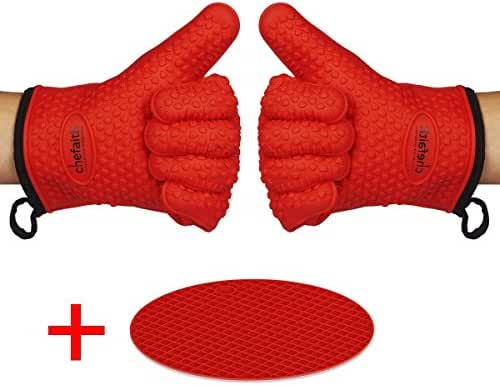 Chefaith Silicone Kitchen Gloves [Fabric Lining / Inner Cotton Layer] for Cooking, Baking, BBQ, Grilling [Free Pot Holder as Bonus]- Heat Resistant (Up to 480°F) Oven Mitts, Best Protection Ever