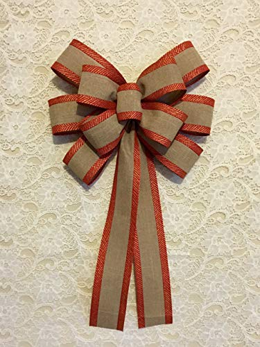 Custom Bows by Jami Everyday Collection Flame Red & Gold Trimmed Linen Wreath Bow -