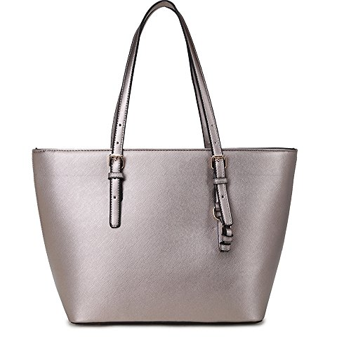 Handbags with Bags Teacher Color Tote Shopper Candy Square Silvery Large Bag Adjustable Laptop Ladies Leather PU Handle LS 6qFwYfUx