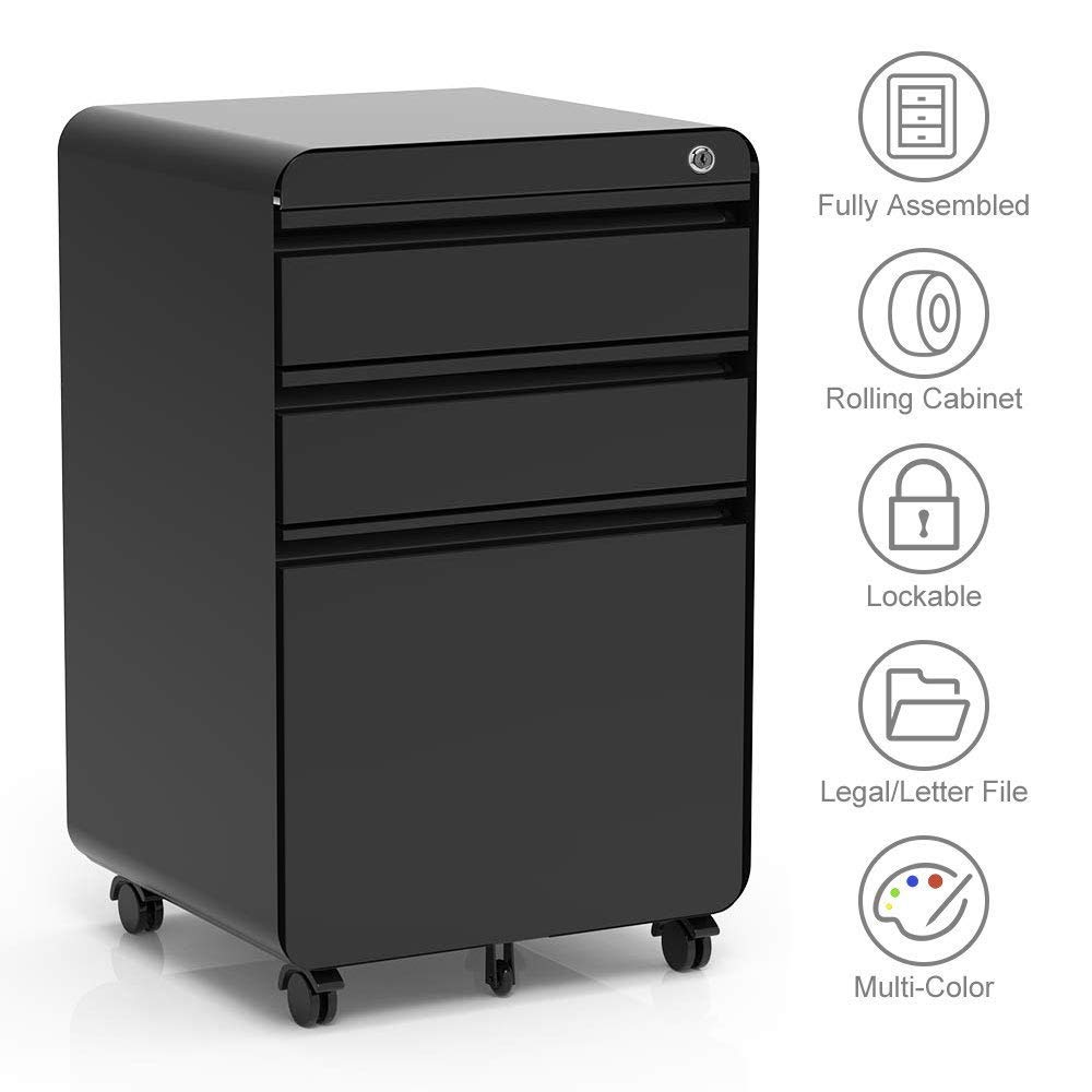 3-Drawer Filling Cabinet, Metal Vertical File Cabinet with Hanging File Frame for Legal & Letter File Install-Free Anti-tilt Design and Lockable System Office Rolling File Cabinet | Black