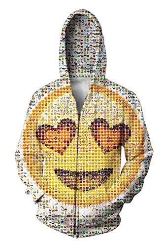 Mens Emoji Printed Long Sleeve Hoodie