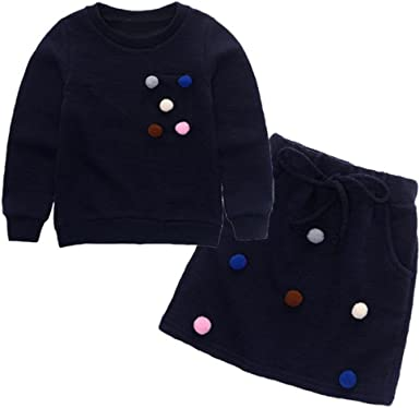 Toddler Kids Baby Girl Pom Pom Pullover Sweatshirt Tops+Skirt Outfit Clothes Set