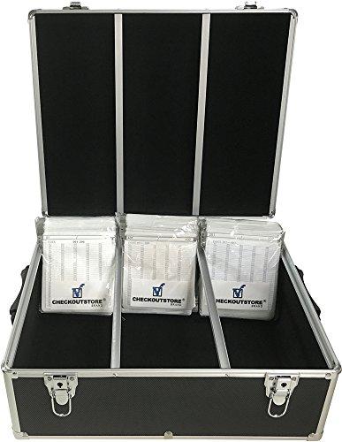 (1) CheckOutStore Aluminum CD/DVD Media Hanging Sleeves Storage Box (Black / Holds 600 Discs) ()