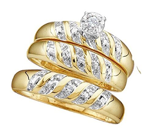 007-cttw-10k-Yellow-Gold-Round-Diamond-Engagement-Ring-His-and-Hers-Trio-Wedding-Ring-Sets