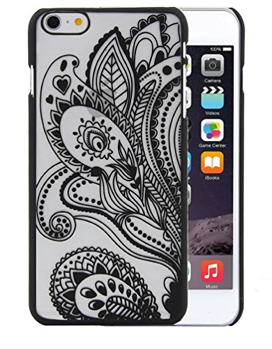 Iphone 6s / 6 Case, Henna Floral Paisley Pattern Peacock Feathers Dream Catcher Rubberized Hybrid PC Cover Case for Iphone 6s / 6