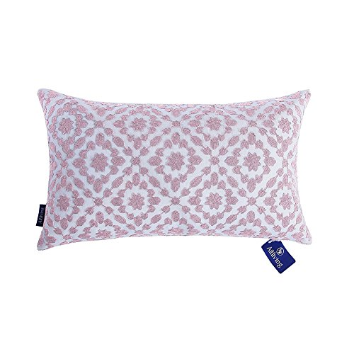 Embroidered Vintage Pillowcase - Aitliving Decorative Pillowcase Embroidered Cotton Canvas Mina Trellis Decorative Lumbar Throw Pillow Cover 12 x 20 inch (30x50cm) Dusk Lilac 1 pc
