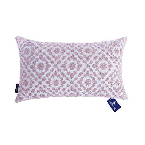 Aitliving Decorative Pillowcase Embroidered Cotton Canvas Mina Trellis Decorative Lumbar Throw Pillow Cover 12 x 20 inch (30x50cm) Dusk Lilac 1 ()