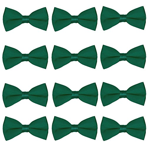 Men's Bow Tie Wholesale 12 Pack Pre-Tied Formal Tuxedo Bowties Wedding Solid Ties (Hunter Green) ()