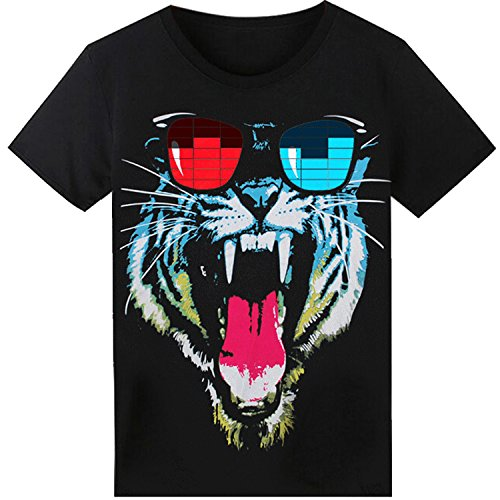 LED T Shirt Sound Activated Funny Shirts Light Up Equalizer Animation Clothes Fancy Dress for Party Hiphop Halloween Concert Cosplay Birthday Gift, Bonus Glow Bracelet (T Shirt Light Up)