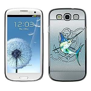 TECHCASE**Cubierta de la caja de protección la piel dura para el ** Samsung Galaxy S3 I9300 ** Silver Sailfish Fishing Club Blue Fish